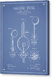 Vacuum Tube Patent From 1905 - Light Blue Acrylic Print