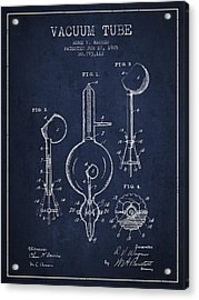 Vacuum Tube Patent From 1905 - Navy Blue Acrylic Print