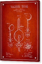 Vacuum Tube Patent From 1905 - Red Acrylic Print
