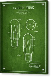 Vacuum Tube Patent From 1927 - Green Acrylic Print