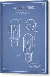 Vacuum Tube Patent From 1927 - Light Blue Acrylic Print