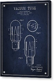Vacuum Tube Patent From 1927 - Navy Blue Acrylic Print