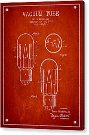Vacuum Tube Patent From 1927 - Red Acrylic Print