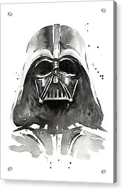 Darth Vader Watercolor Acrylic Print by Olga Shvartsur