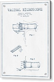 Vaginal Microscope Patent From 1980 - Blue Ink Acrylic Print by Aged Pixel