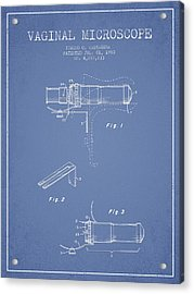 Vaginal Microscope Patent From 1980 - Light Blue Acrylic Print by Aged Pixel
