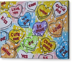 Valentine Candy Hearts Acrylic Print by Kathy Marrs Chandler