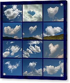 Valentine - Clouds For Sale Collage Acrylic Print by Daliana Pacuraru