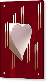 Valentine Paper Heart Acrylic Print by Gary Eason