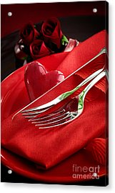 Valentine's Day Dinner Acrylic Print by Mythja  Photography