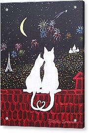 Love In Paris Acrylic Print by Nathalie Sorensson