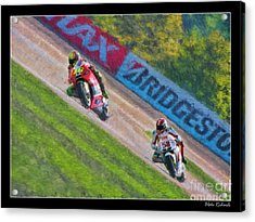 Valentino Rossi Leads Marco Simoncelli Acrylic Print
