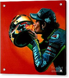 Valentino Rossi Portrait Acrylic Print by Paul Meijering