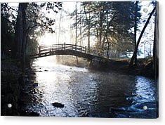 Valley Creek Bow Bridge At Valley Forge Acrylic Print by Bill Cannon