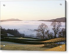 Valley Mist Over Windermere At Dawn Acrylic Print