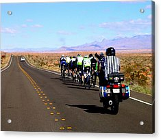 Valley Of Fire Bike Race Acrylic Print by Cindy Croal