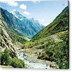 Valley Of River Ganga In Himalyas Mountain Acrylic Print by Raimond Klavins