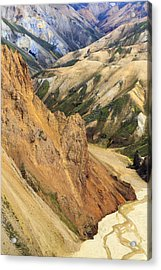 Valley Through Rhyolite Mountains Acrylic Print by Mart Smit
