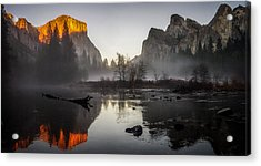 Valley View Yosemite National Park Winterscape Sunset Acrylic Print