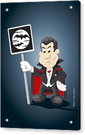 Vampire Cartoon Man Bat Moon Sign Acrylic Print