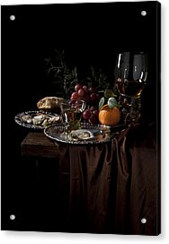 Acrylic Print featuring the photograph Van Beijeren -still Life With Roemer-silverware And Oysters by Levin Rodriguez