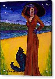 Van Goes With Mrs. Klimt On A Starry Night Acrylic Print