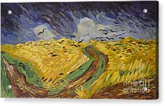 Van Gogh Wheat Field With Crows Copy Acrylic Print by Avonelle Kelsey