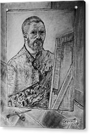 Van Goghs Self Portrait Painting Placed In His Room In Arles France Acrylic Print