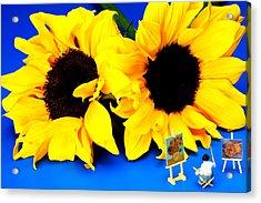 Van Gogh's Sunflower Miniature Art Acrylic Print by Paul Ge