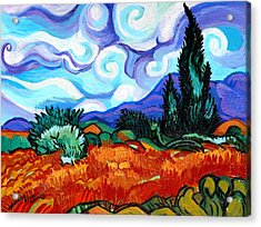Van Goghs Wheat Field With Cypress Acrylic Print by Genevieve Esson