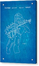 Van Halen Instrument Support Patent Art 1987 Blueprint Acrylic Print