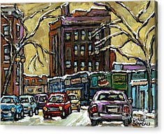 Van Horne Corner Ave Du Parc On The Road Again Montreal Cars In January City Life Paintings Cspandau Acrylic Print