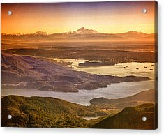 Vancouver And Mt Baker Aerial View Acrylic Print by Eti Reid