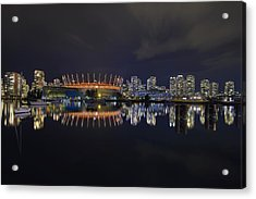 Vancouver Bc Canada City Skyline By False Creek At Night Acrylic Print by David Gn