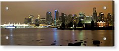 Vancouver Bc City Skyline At Night Acrylic Print by David Gn