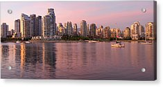 Acrylic Print featuring the photograph Vancouver Bc Skyline Along False Creek At Dusk by JPLDesigns