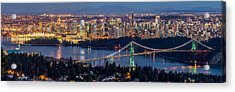 Vancouver City With Lions Gate Bridge At Twilight Acrylic Print by Pierre Leclerc Photography
