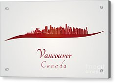 Vancouver Skyline In Red Acrylic Print
