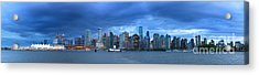 Vancouver Skyline Panoramic At Night Acrylic Print
