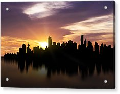 Vancouver Sunset Skyline  Acrylic Print by Aged Pixel