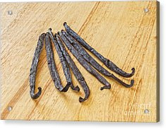 Vanilla Beans On A Wooden Surface Acrylic Print by Colin and Linda McKie