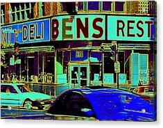 Vanishing Montreal Memories Ben's Historical Restaurant Window So Many Stories To Tell Acrylic Print by Carole Spandau