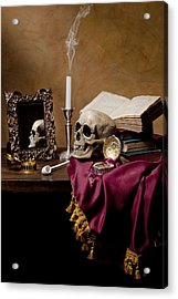 Acrylic Print featuring the photograph Vanitas - Skull-mirror-books And Candlestick by Levin Rodriguez
