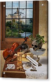 Vanitas With Music Instruments And Window Acrylic Print