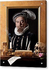 Vanitas With Painting-skull-hourglass Acrylic Print by Levin Rodriguez