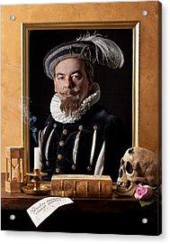 Vanitas With Painting-skull-hourglass Acrylic Print