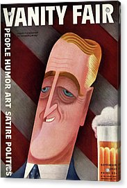 Vanity Fair Cover Featuring Franklin D. Roosevelt Acrylic Print by Miguel Covarrubias