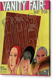 Vanity Fair Cover Featuring Three Monkeys Acrylic Print by Miguel Covarrubias