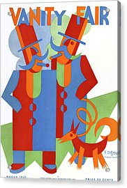 Vanity Fair Cover Featuring Two Wealthy Men Acrylic Print by Fortunato Depero
