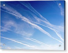 Vapour Trails Over Northumberland Acrylic Print by Ashley Cooper